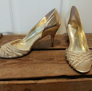 Gold peep toe dress shoes